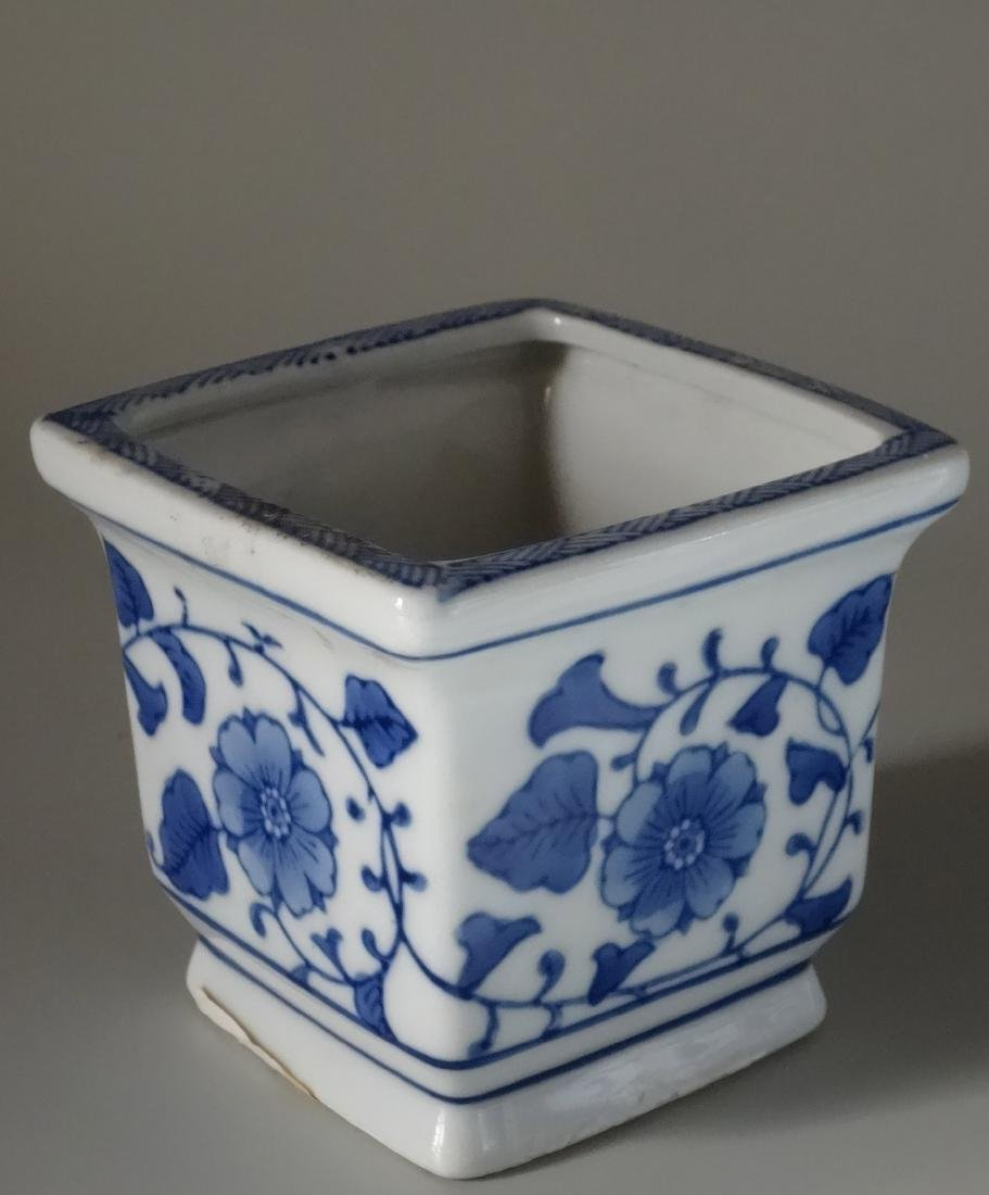 Painted Blue and White Cachepot Planter Oriental Style - 3