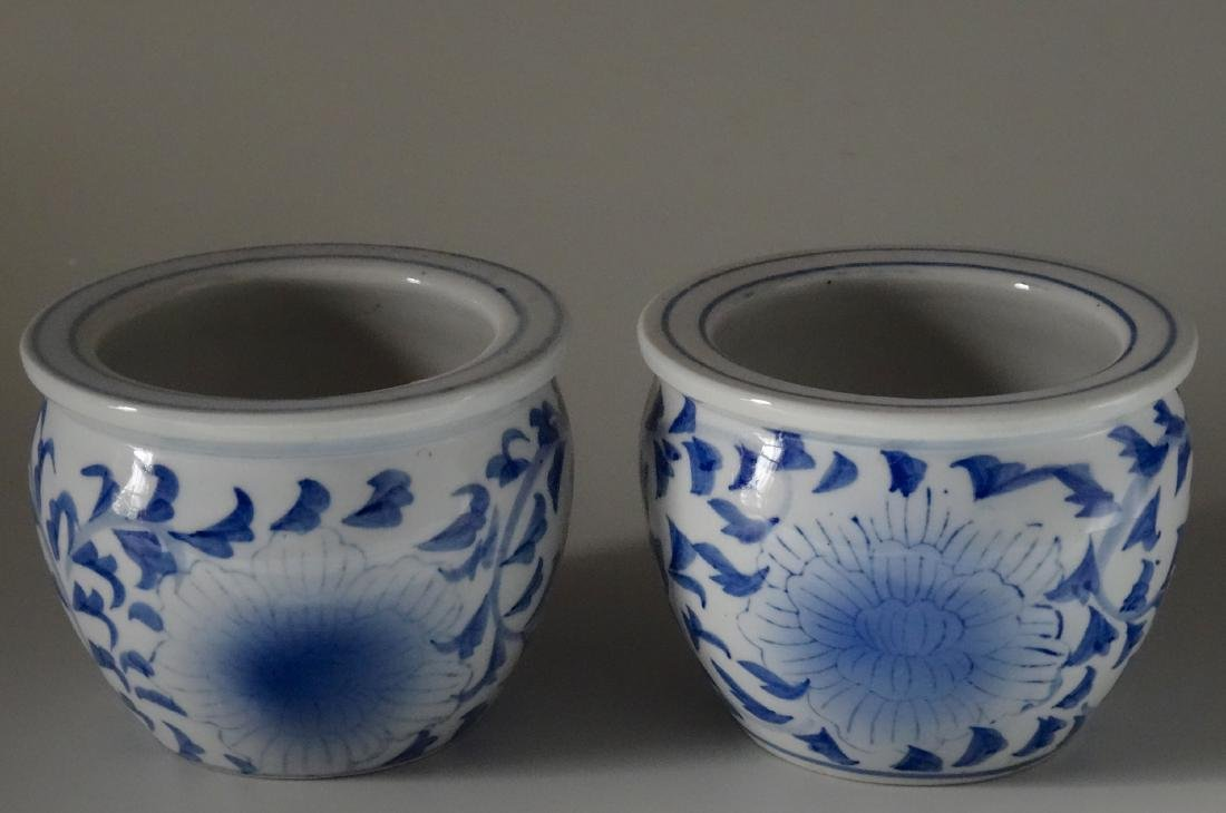 Painted Blue and White Cachepot Planter Oriental Style - 5