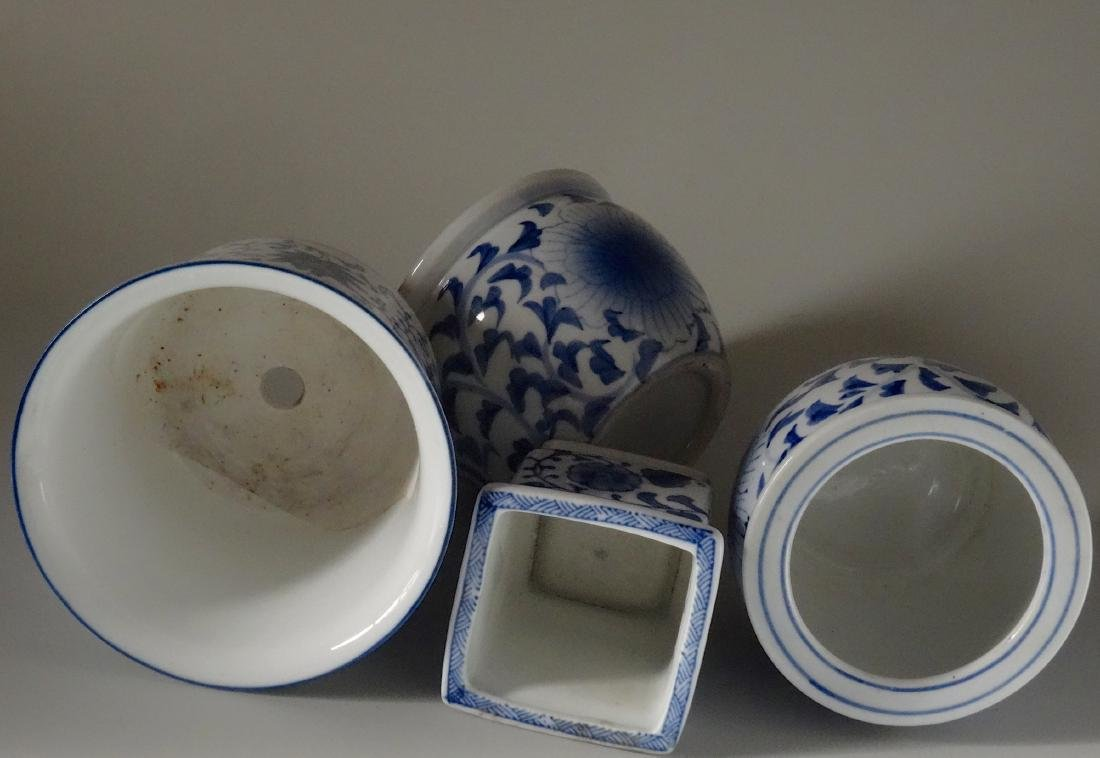 Painted Blue and White Cachepot Planter Oriental Style - 6