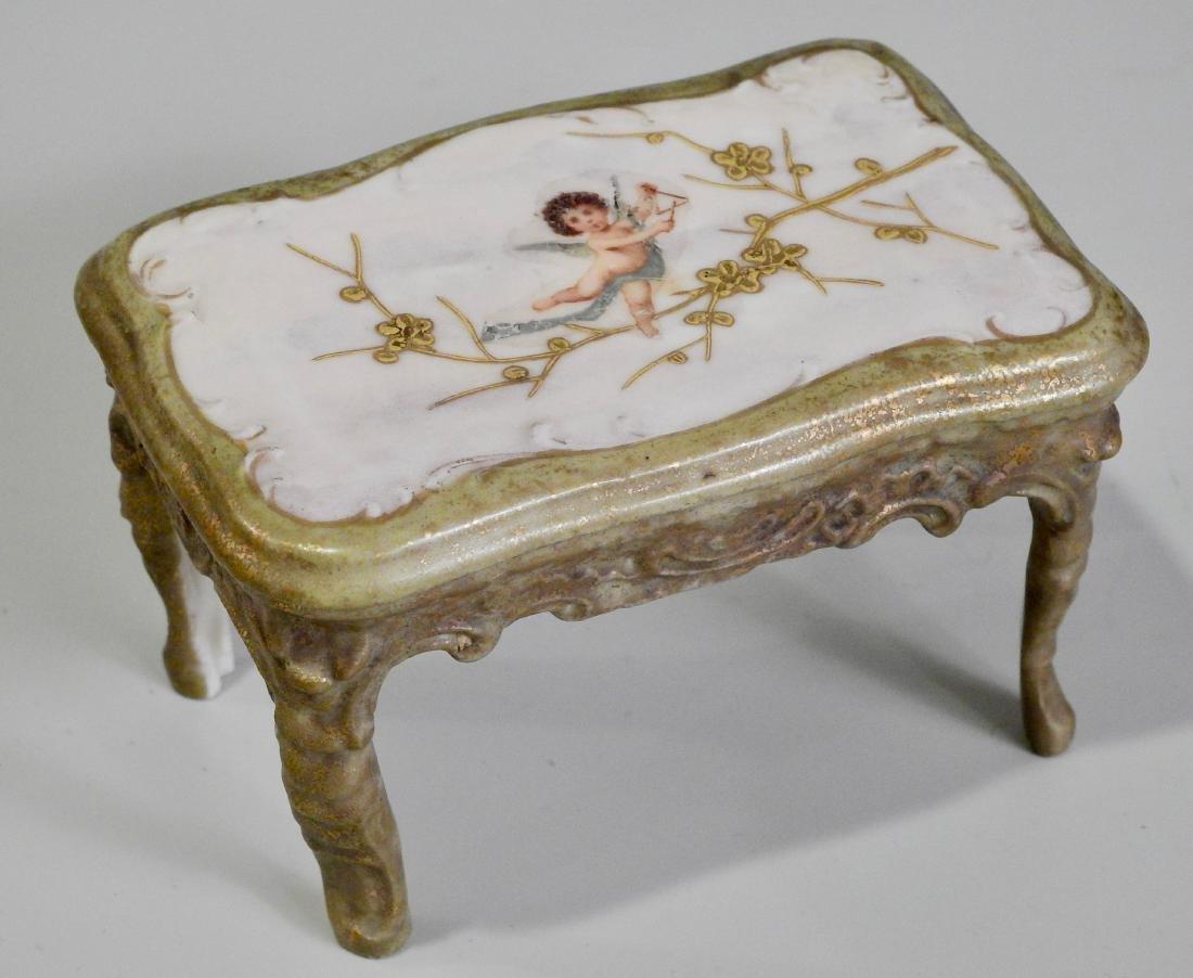 Antique Miniature Dollhouse Ceramic Table Cherub Top