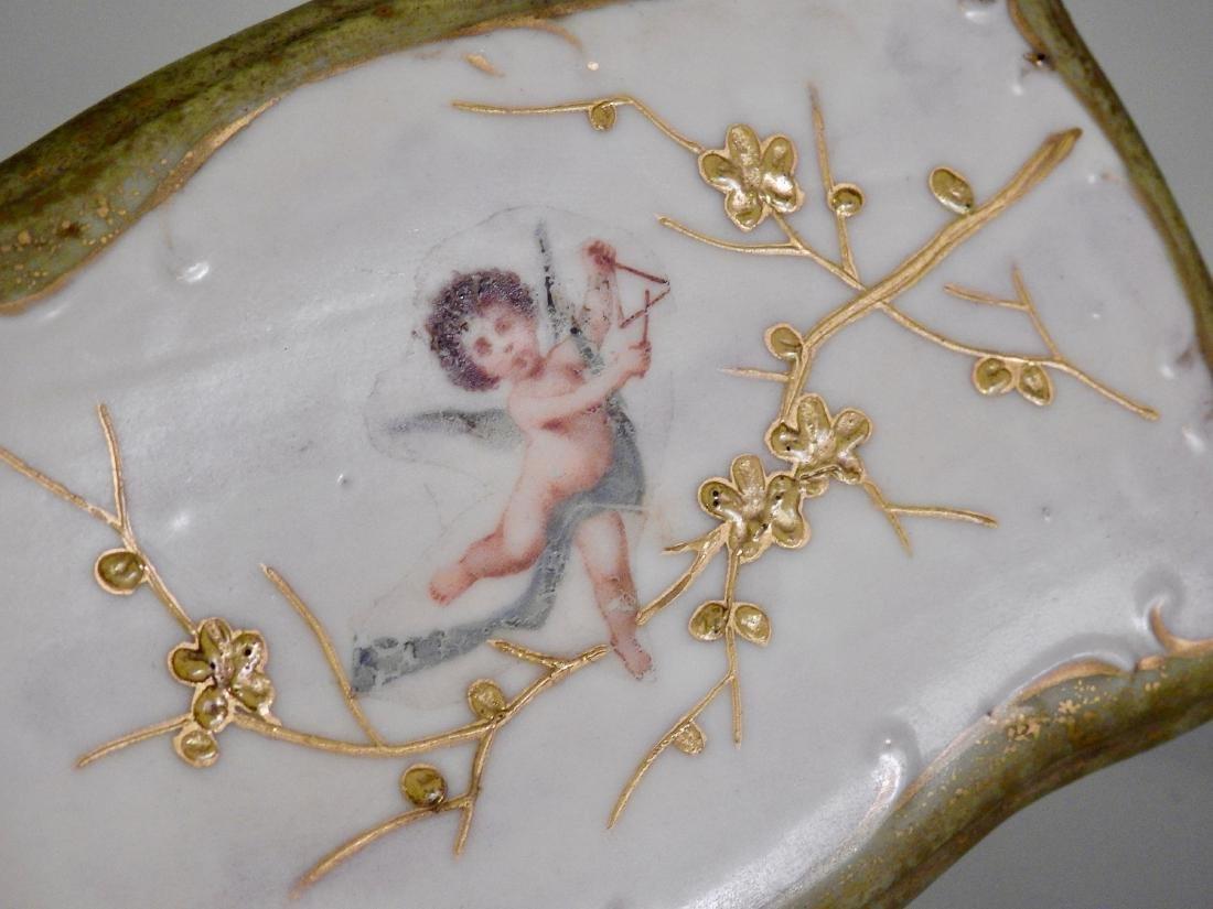 Antique Miniature Dollhouse Ceramic Table Cherub Top - 2
