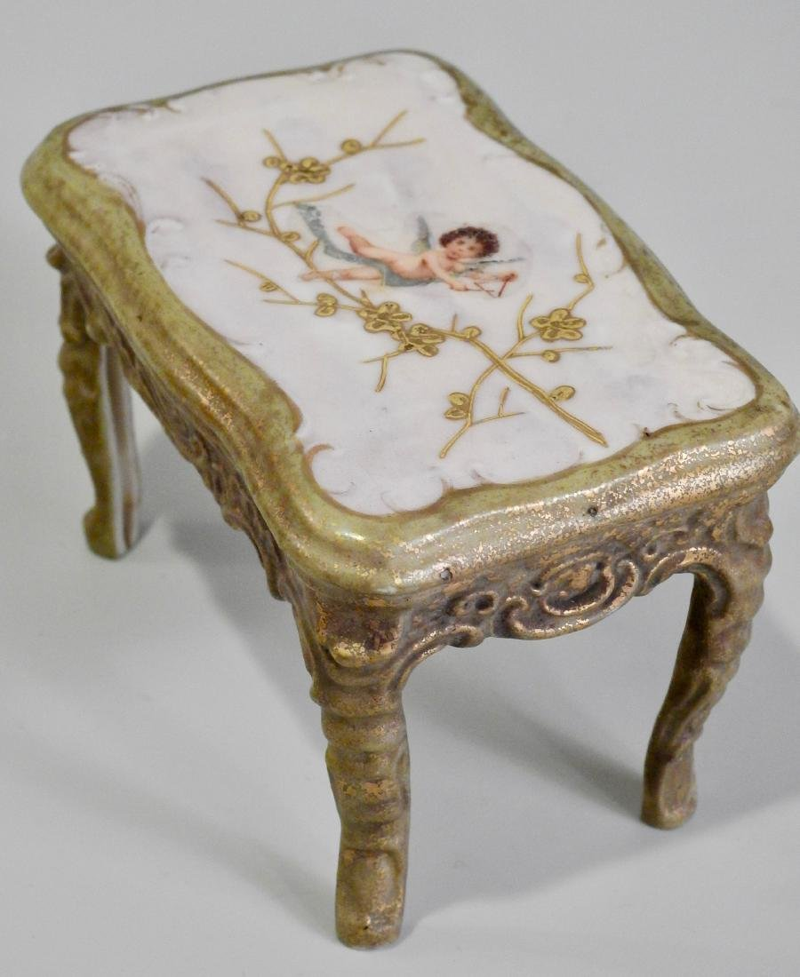 Antique Miniature Dollhouse Ceramic Table Cherub Top - 3