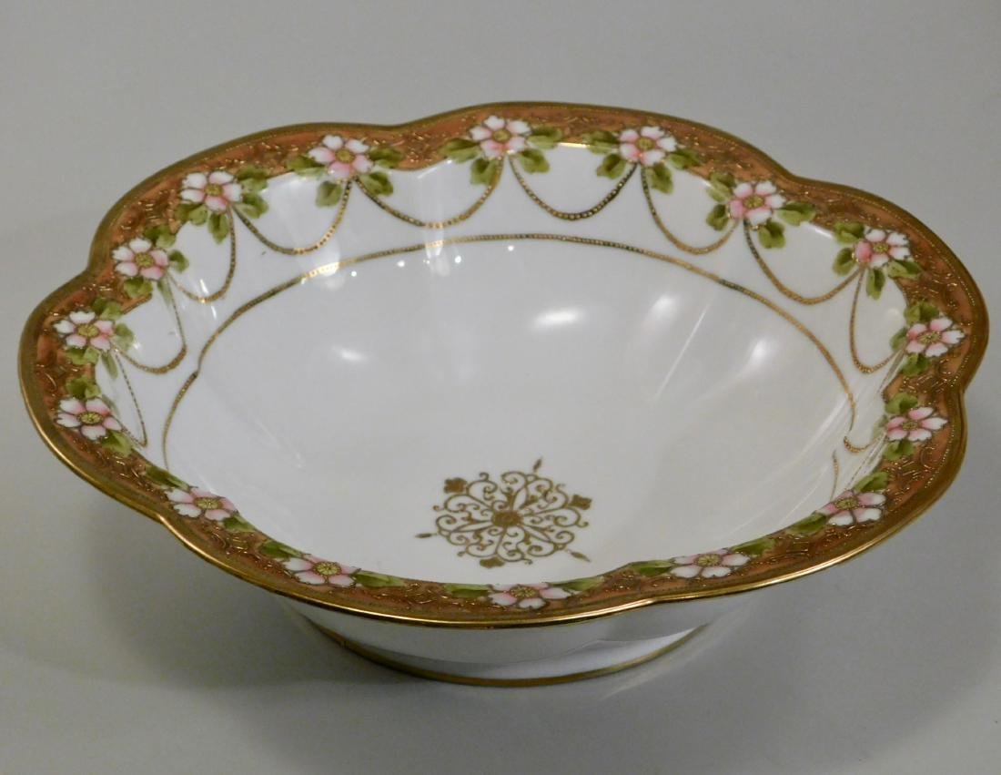 Hand Painted RC Nippon Porcelain Moriage Gilded Bowl