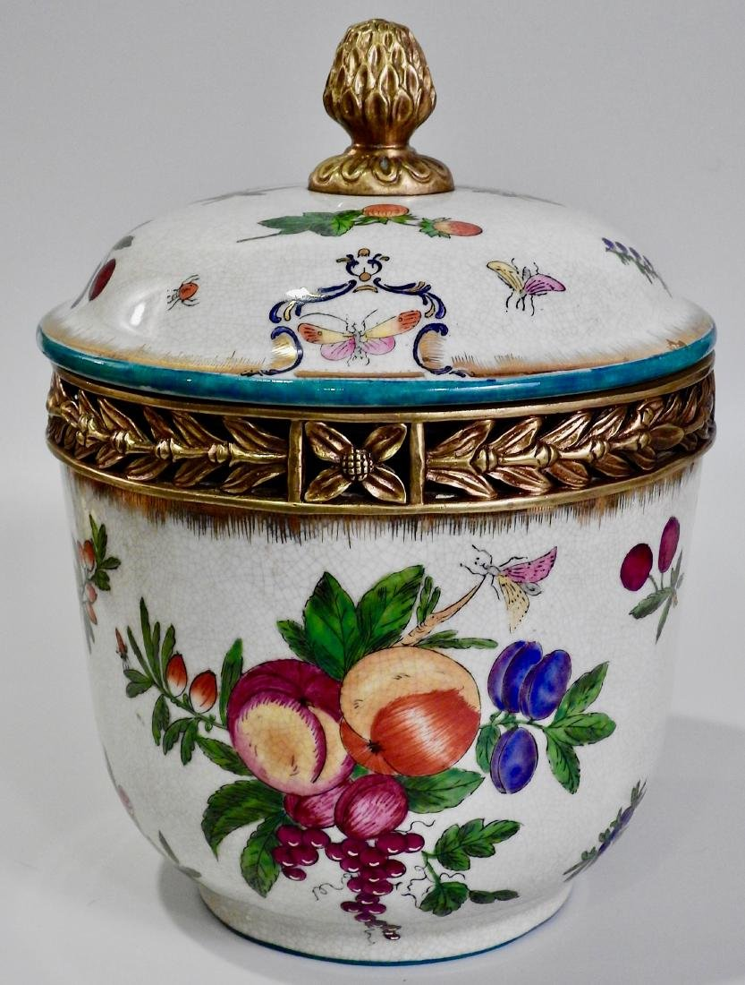 Fruit Insects Decorated Metal Mounted Lidded Pot