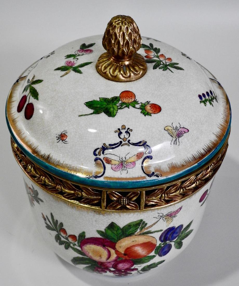 Fruit Insects Decorated Metal Mounted Lidded Pot - 2