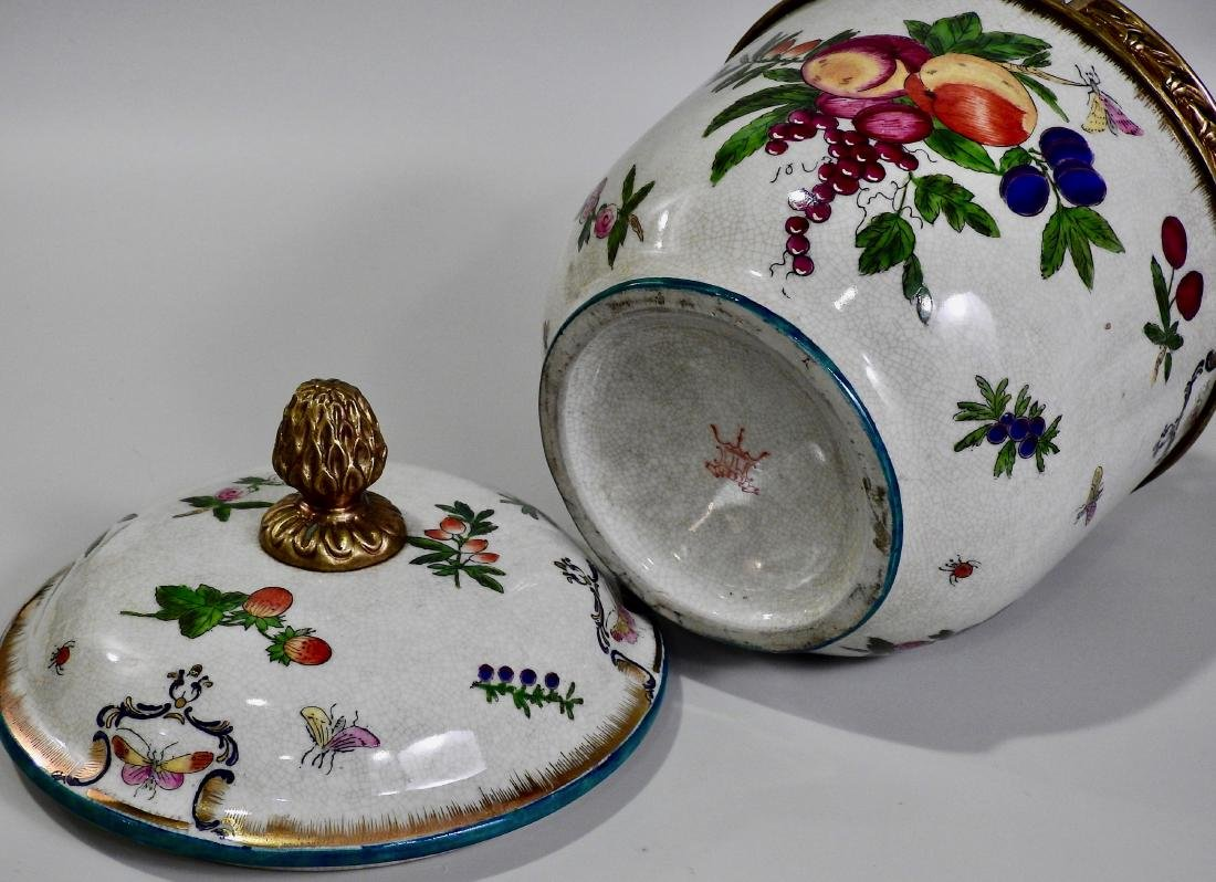 Fruit Insects Decorated Metal Mounted Lidded Pot - 6