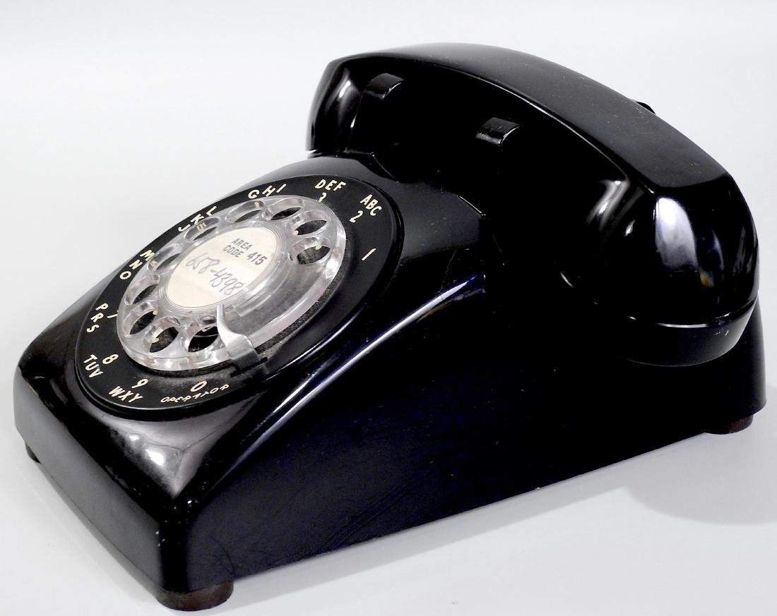 Vintage Bell System Black Rotary Telephone Deck Top - 2