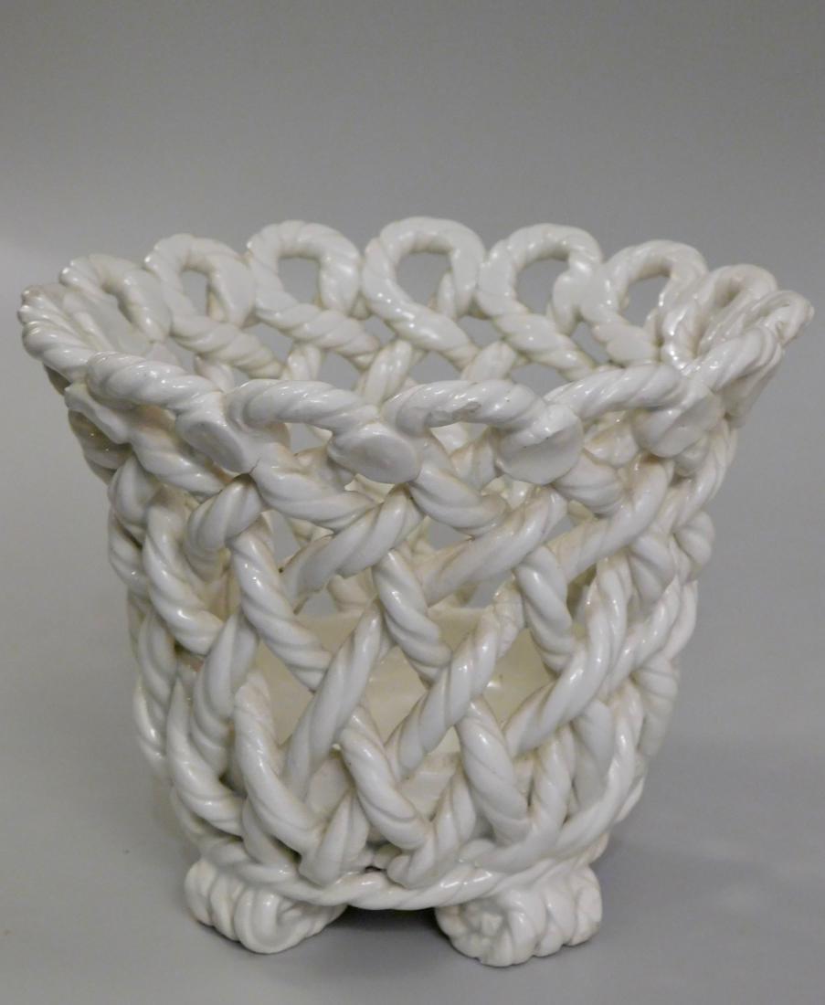 Italian Blanc De Chine Ceramic Woven Planter Cachepot