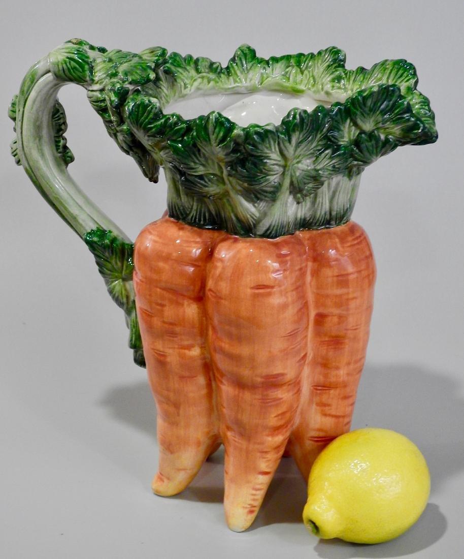 Large Botanical Designer Carrot Figural Pitcher