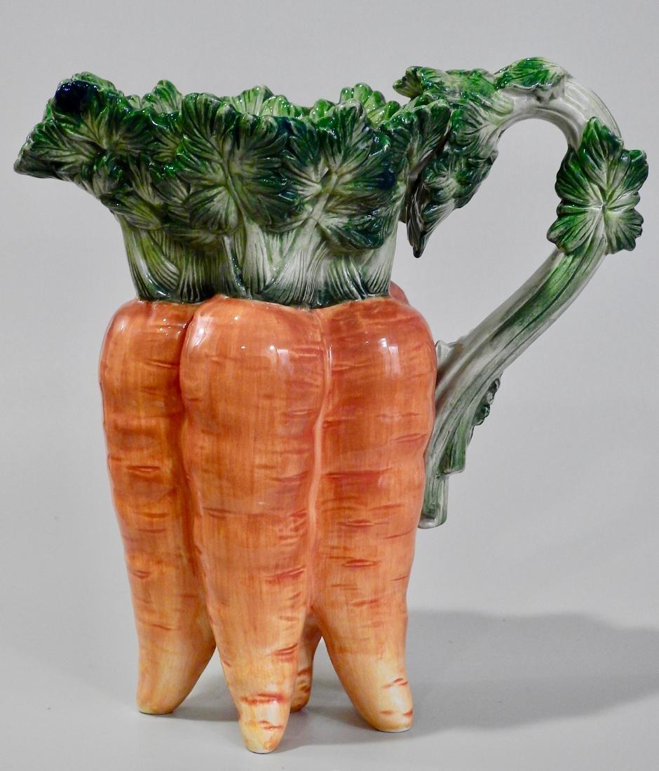 Large Botanical Designer Carrot Figural Pitcher - 2