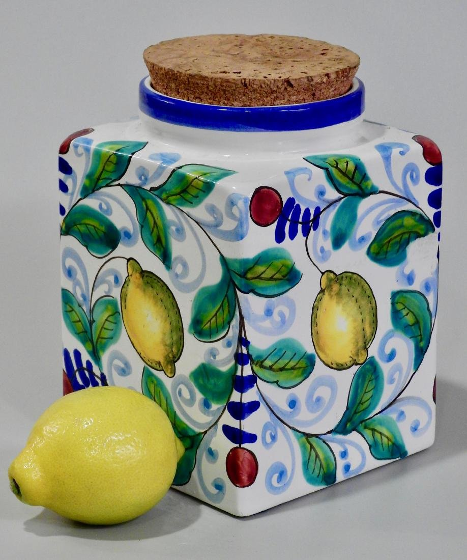 Italian Art Pottery Hand Painted Kitchen Container