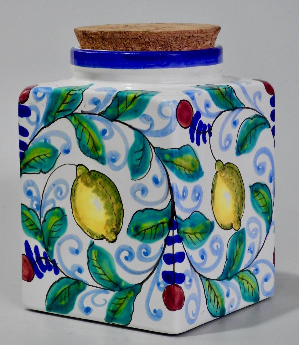 Italian Art Pottery Hand Painted Kitchen Container - 2