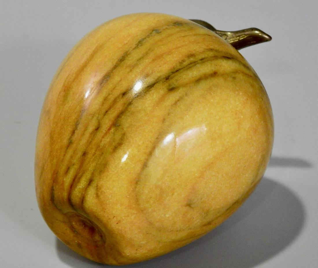 Solid Marble Carved Apple Ornament Paper Weight - 3
