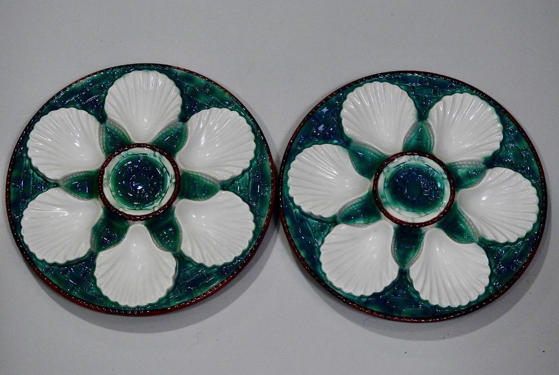 Italian Majolica Pottery Oyster Plates Lot of 2 Wall