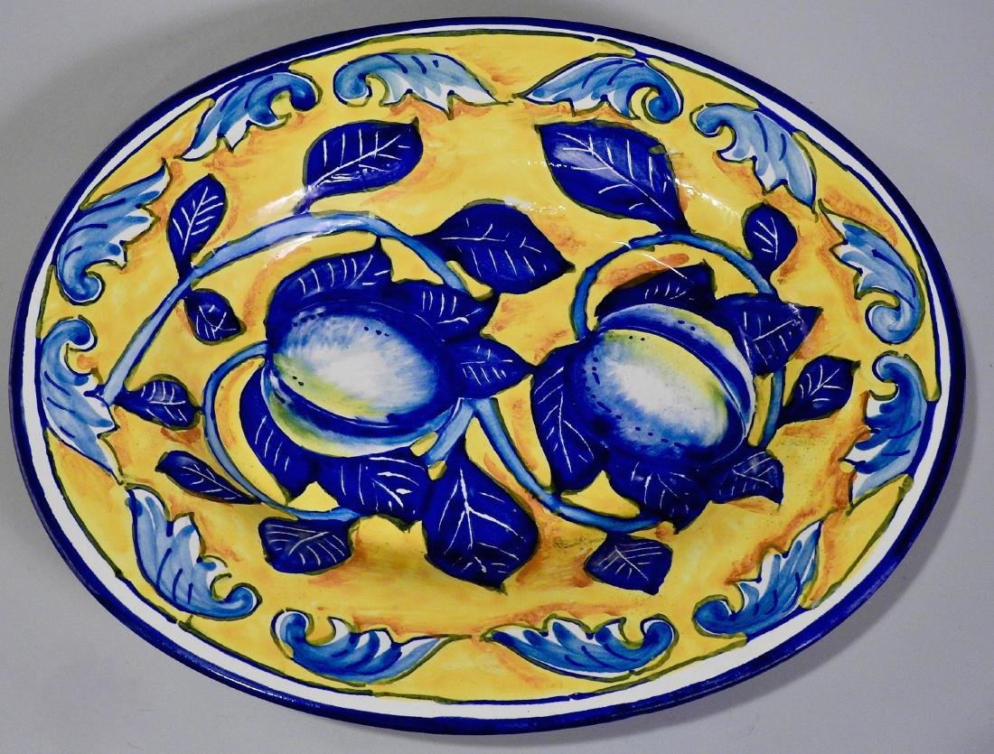 Amalfi Coast Italian Blue Lemon Oval Wall Plaque
