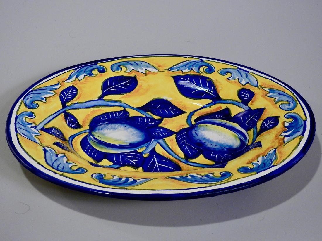Amalfi Coast Italian Blue Lemon Oval Wall Plaque - 2
