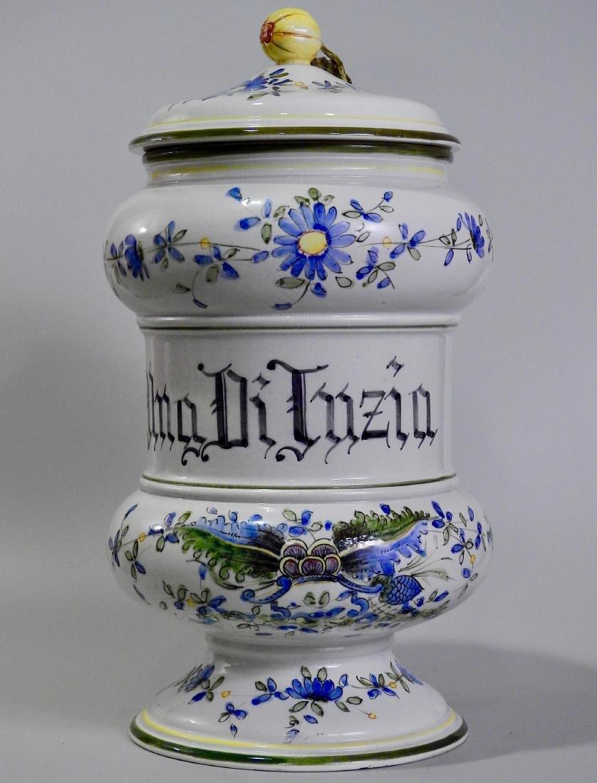 Very Large Italian Pottery Apothecary Jar Albarello - 2