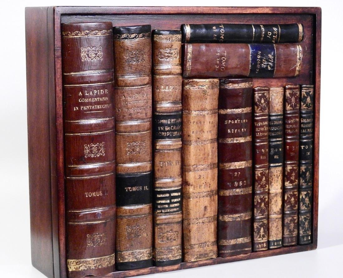 Italian Trompe Alley Faux Book Shelf Hide Leather Bound