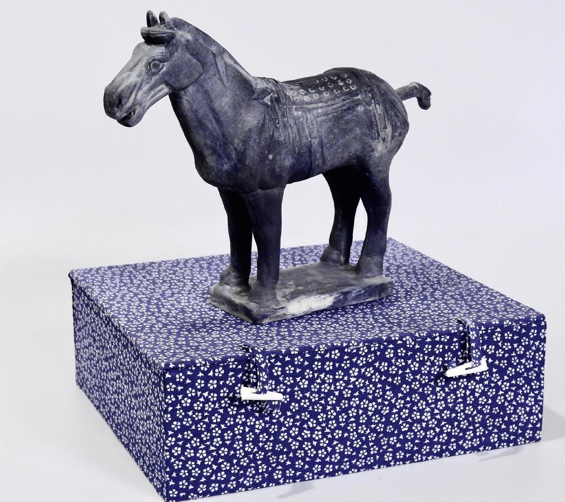 Chinese Xian Warrior Black Terracotta Statue Horse - 2