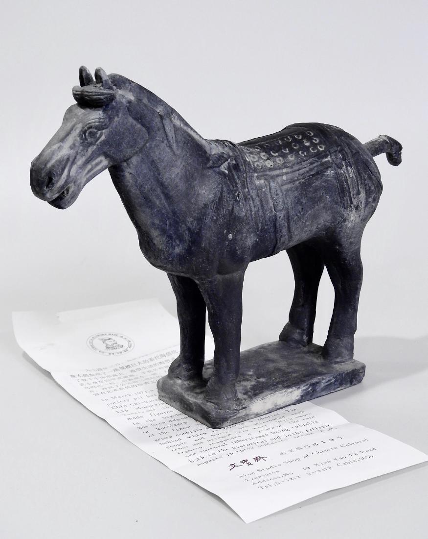 Chinese Xian Warrior Black Terracotta Statue Horse - 3