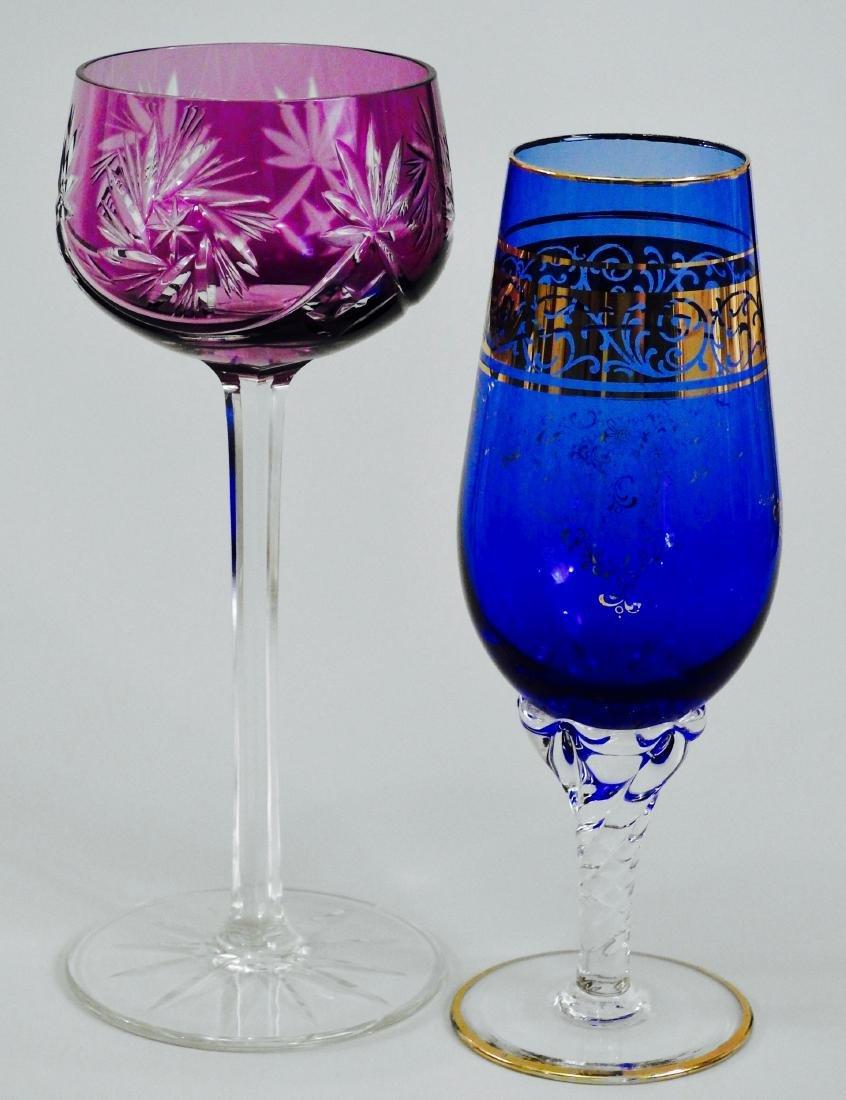 Cut To Clear Purple Wine Glass Cobalt Gilded Stemware
