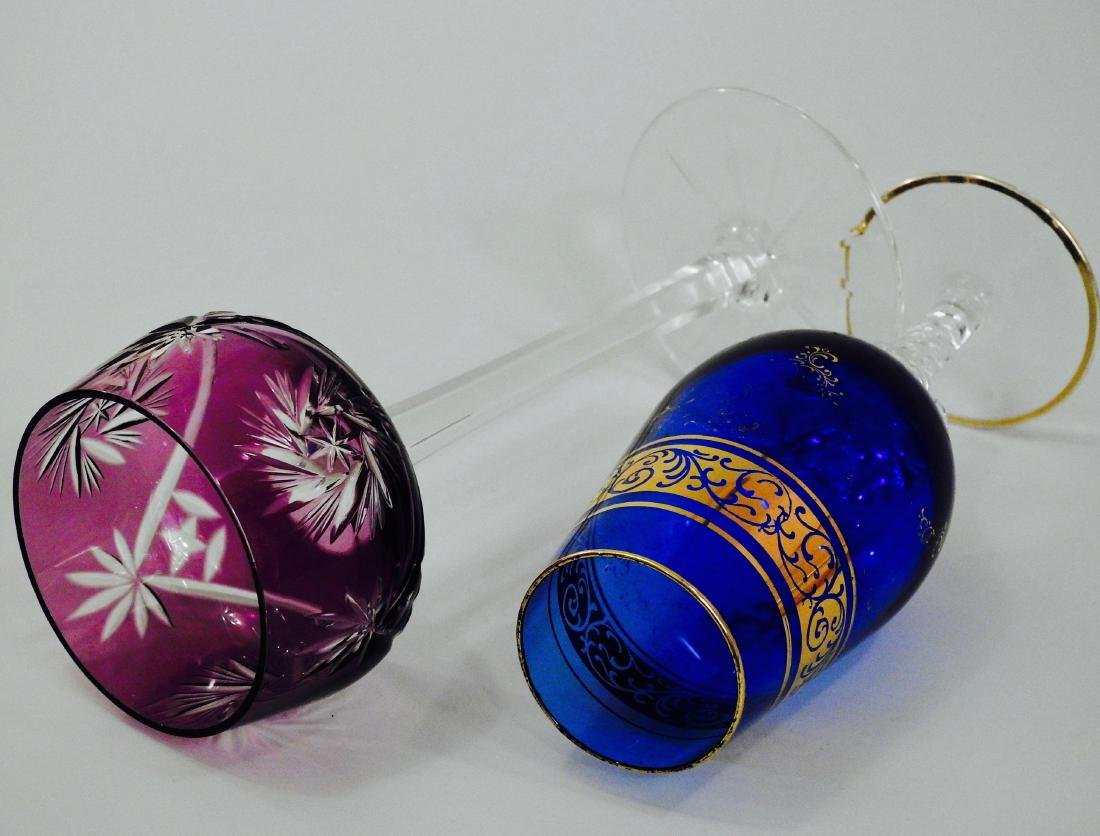 Cut To Clear Purple Wine Glass Cobalt Gilded Stemware - 2