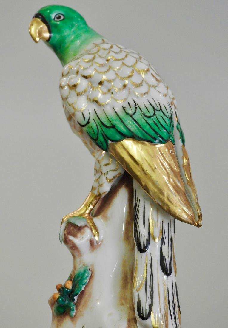 Chelsea Style Porcelain Parrot Figurine Marked Foreign - 4