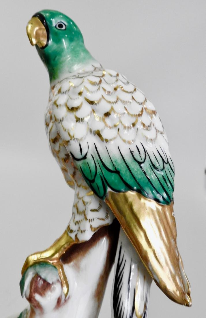 Chelsea Style Porcelain Parrot Figurine Marked Foreign - 7