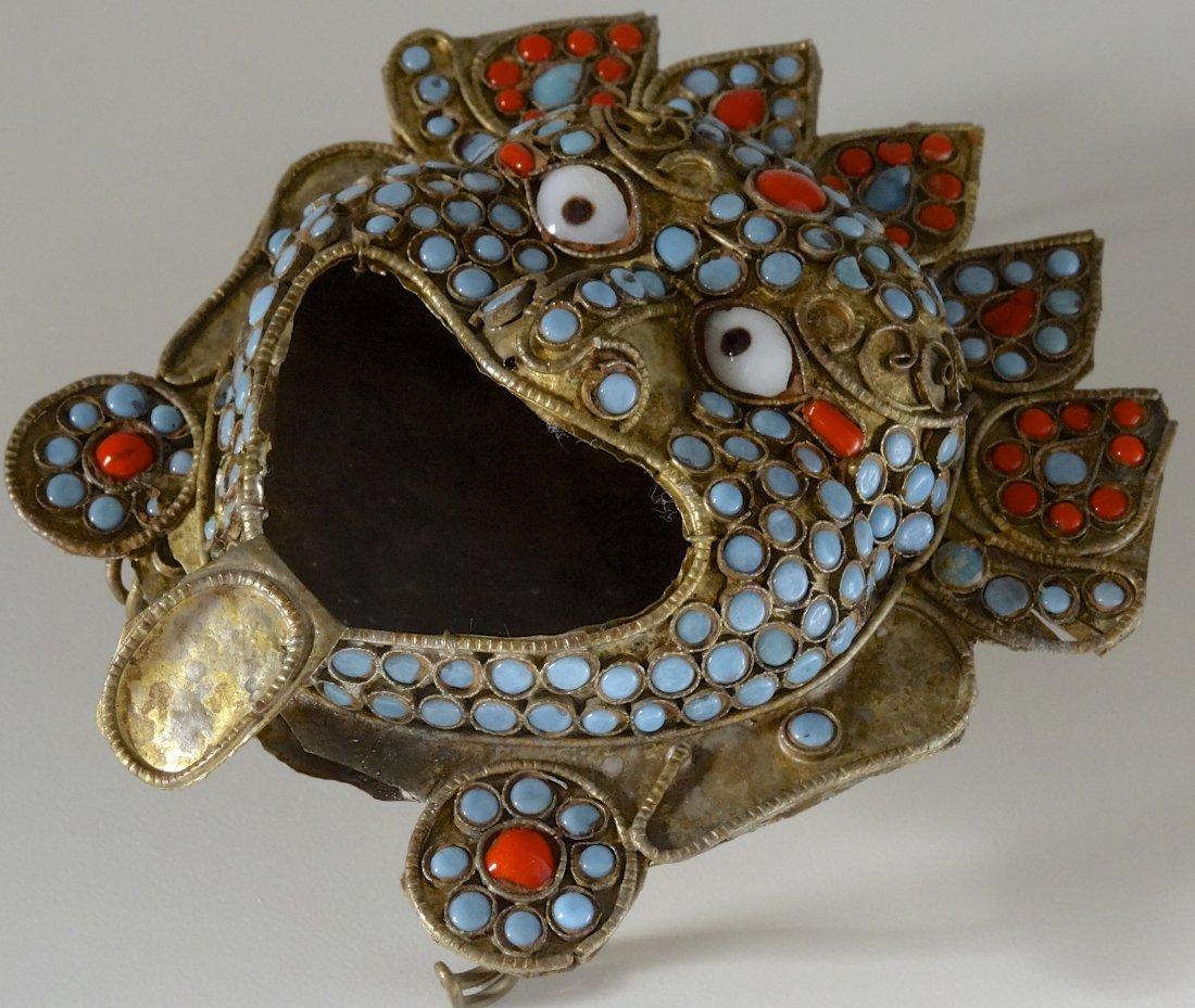 Tibetan Jeweled Buddhist Demon Mask Ashtray