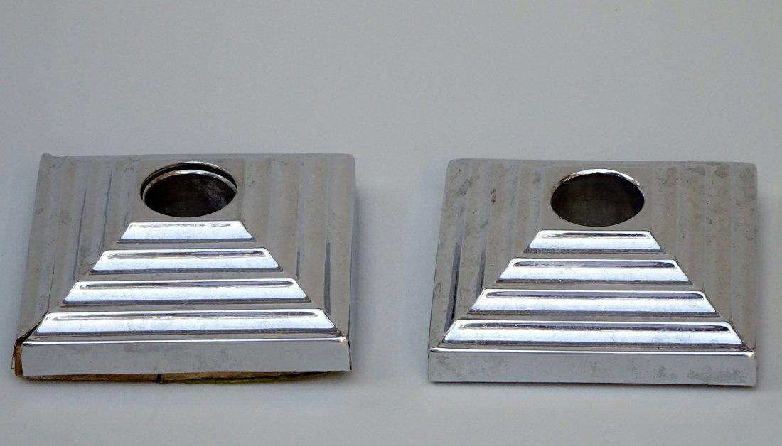 Vintage Art Deco Pyramid Candleholders Pair