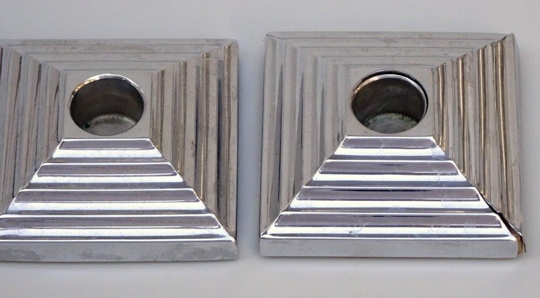 Vintage Art Deco Pyramid Candleholders Pair - 3