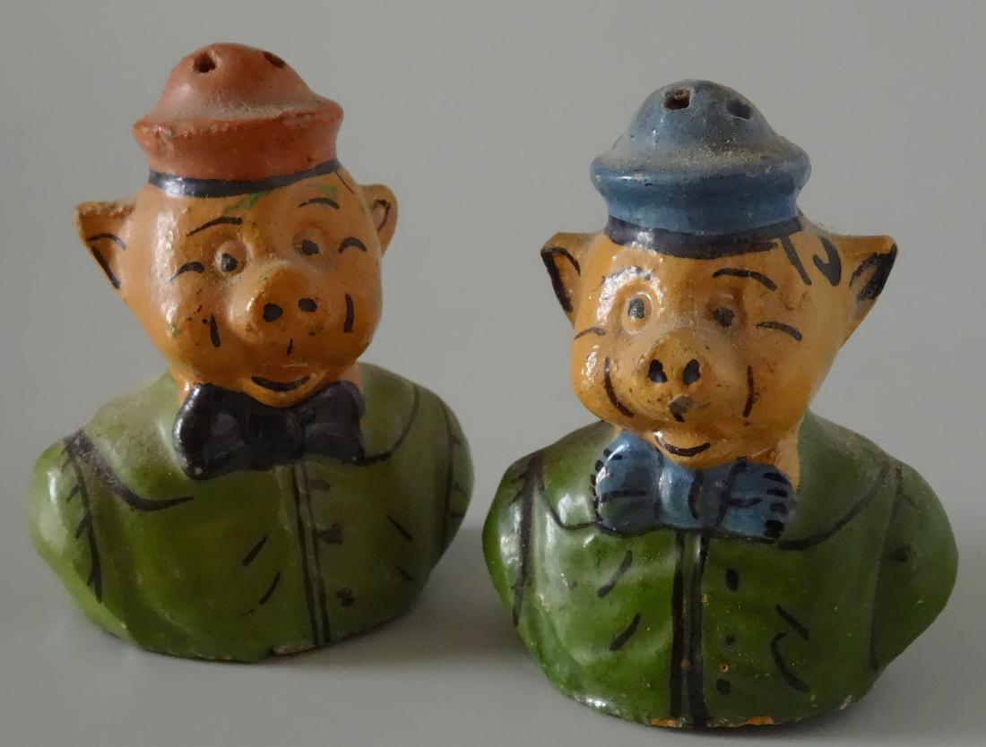 Piglets Pig Vintage Mexican Painted Earthware Salt