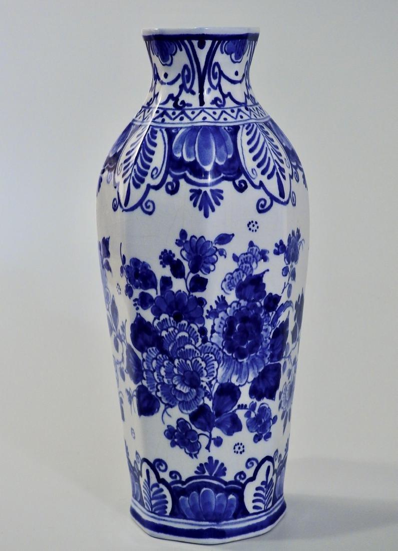 Delft Hand Painted Signed Flow Blue Cabinet Vase