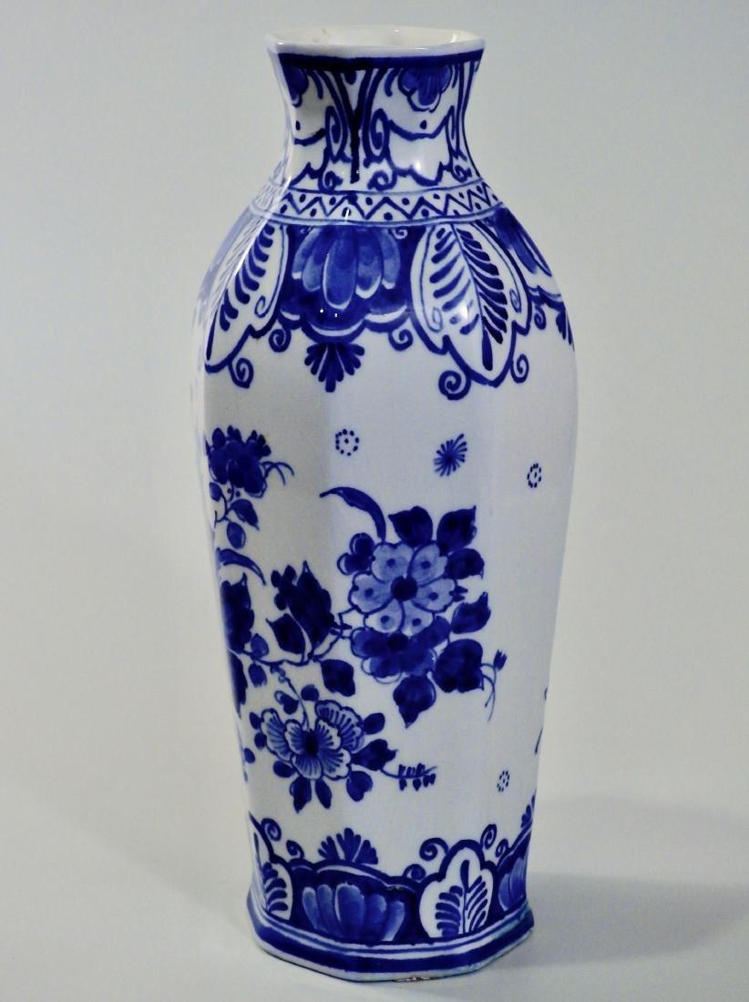 Delft Hand Painted Signed Flow Blue Cabinet Vase - 2