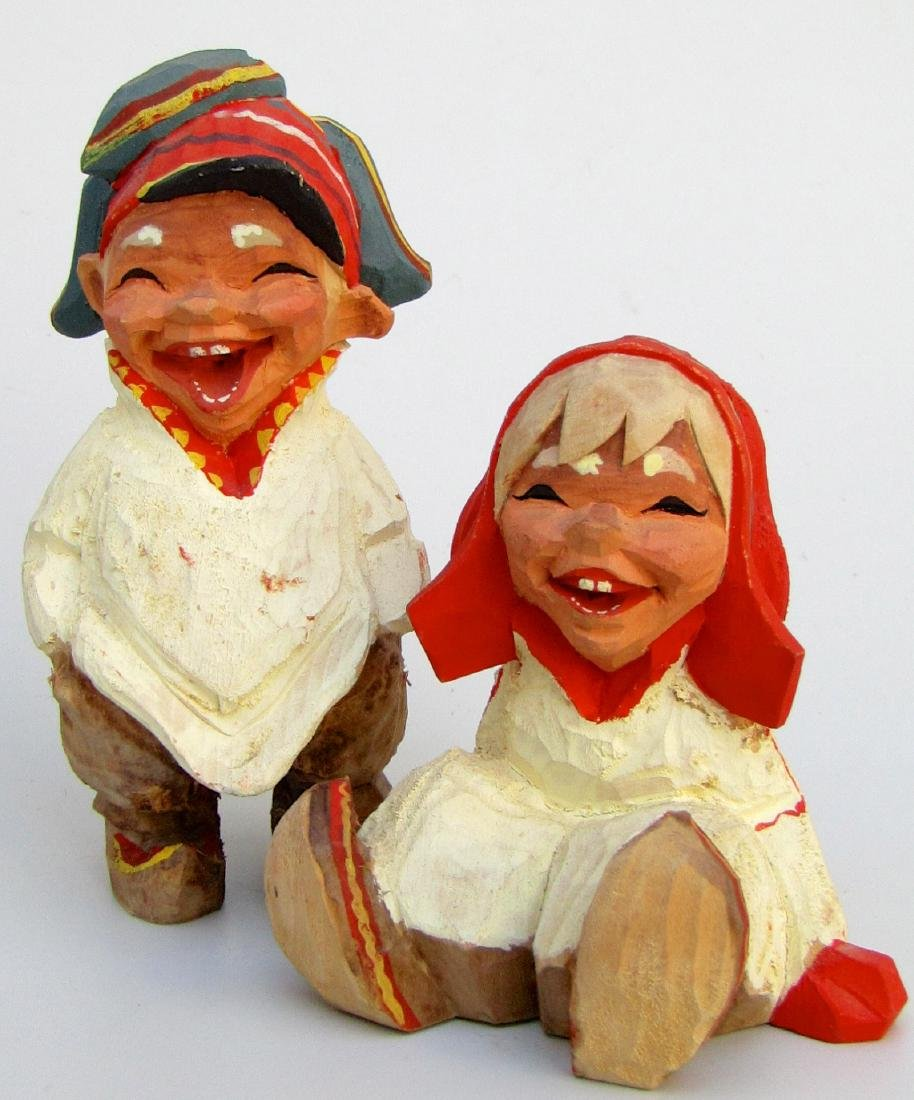 Vintage Henning Norway Carved Folk Troll Figurines Pair