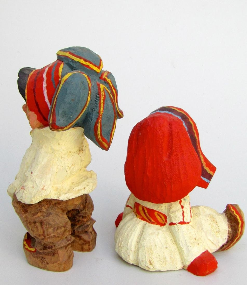 Vintage Henning Norway Carved Folk Troll Figurines Pair - 2