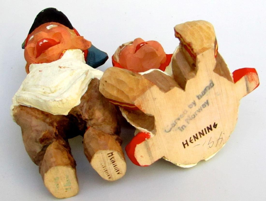 Vintage Henning Norway Carved Folk Troll Figurines Pair - 3