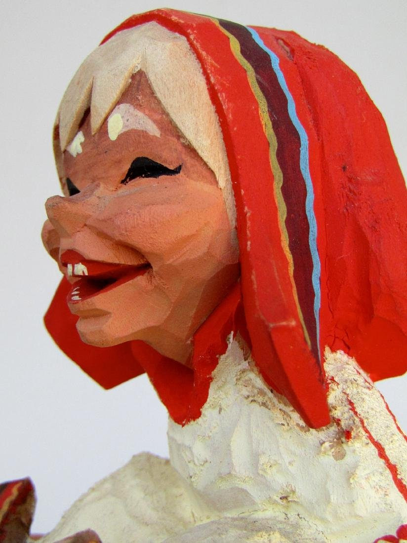 Vintage Henning Norway Carved Folk Troll Figurines Pair - 5