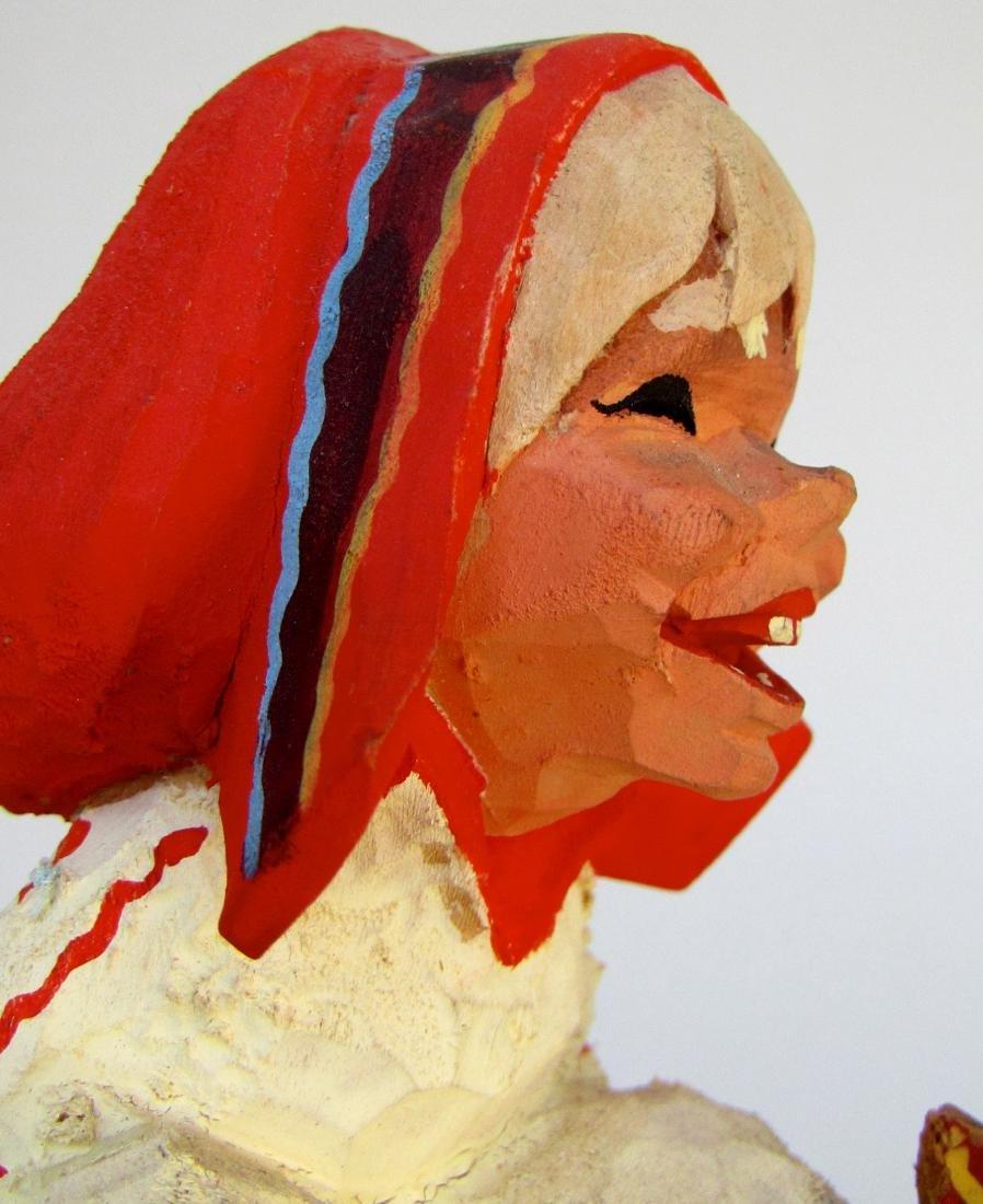 Vintage Henning Norway Carved Folk Troll Figurines Pair - 6