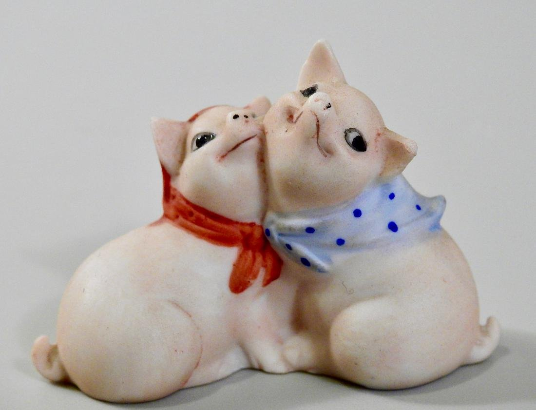 Vintage German Bisque Porcelain Embracing Pigs Figurine