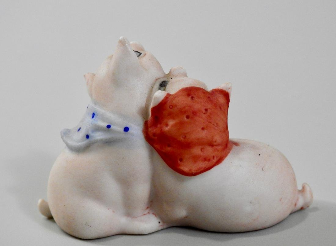 Vintage German Bisque Porcelain Embracing Pigs Figurine - 2