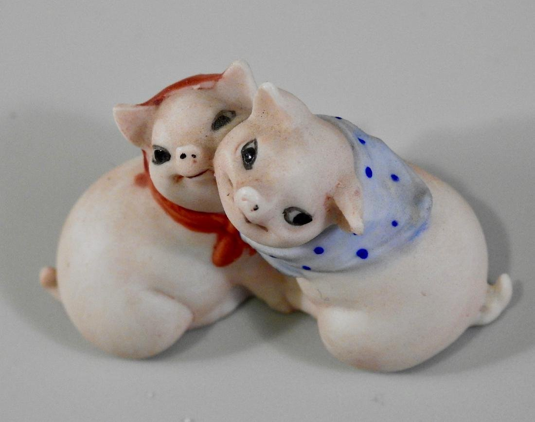 Vintage German Bisque Porcelain Embracing Pigs Figurine - 3