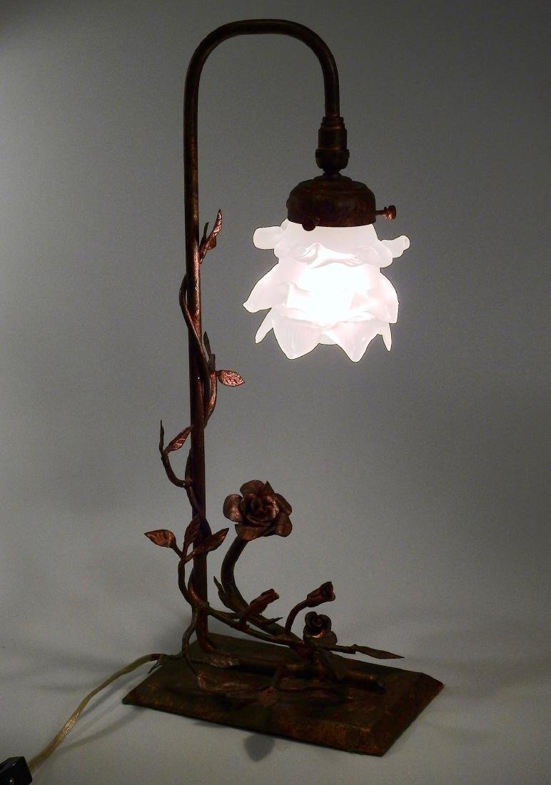 Unique Hand Made Wrought Iron Rose Table Lamp