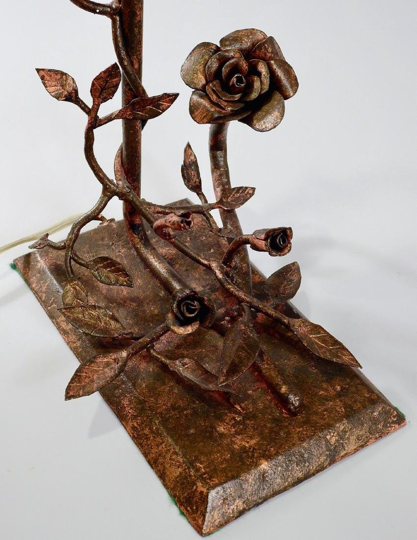 Unique Hand Made Wrought Iron Rose Table Lamp - 5