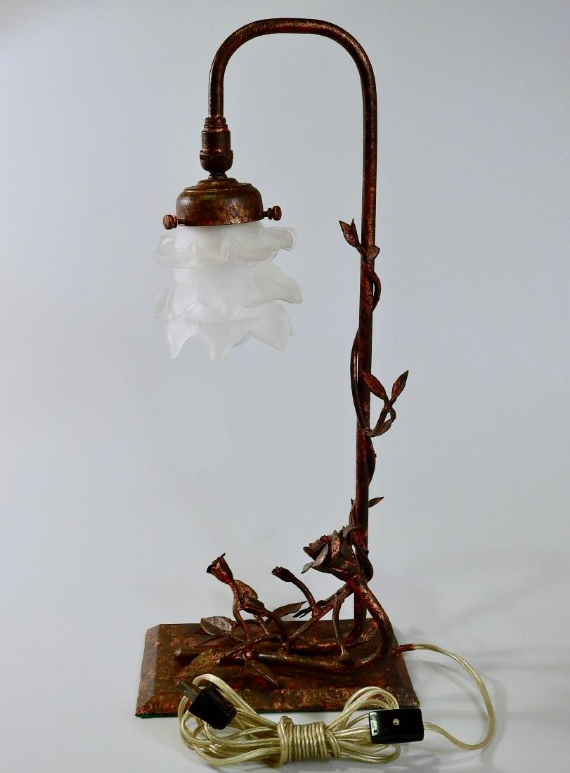 Unique Hand Made Wrought Iron Rose Table Lamp - 7