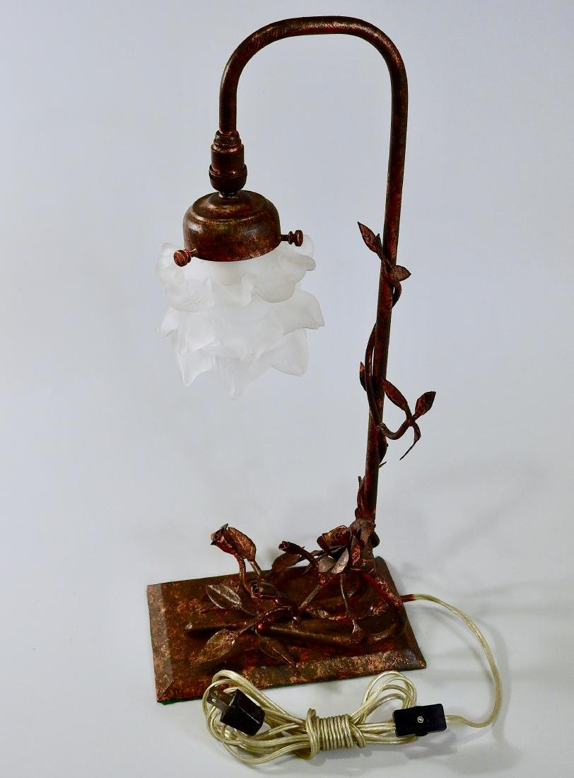 Unique Hand Made Wrought Iron Rose Table Lamp - 8