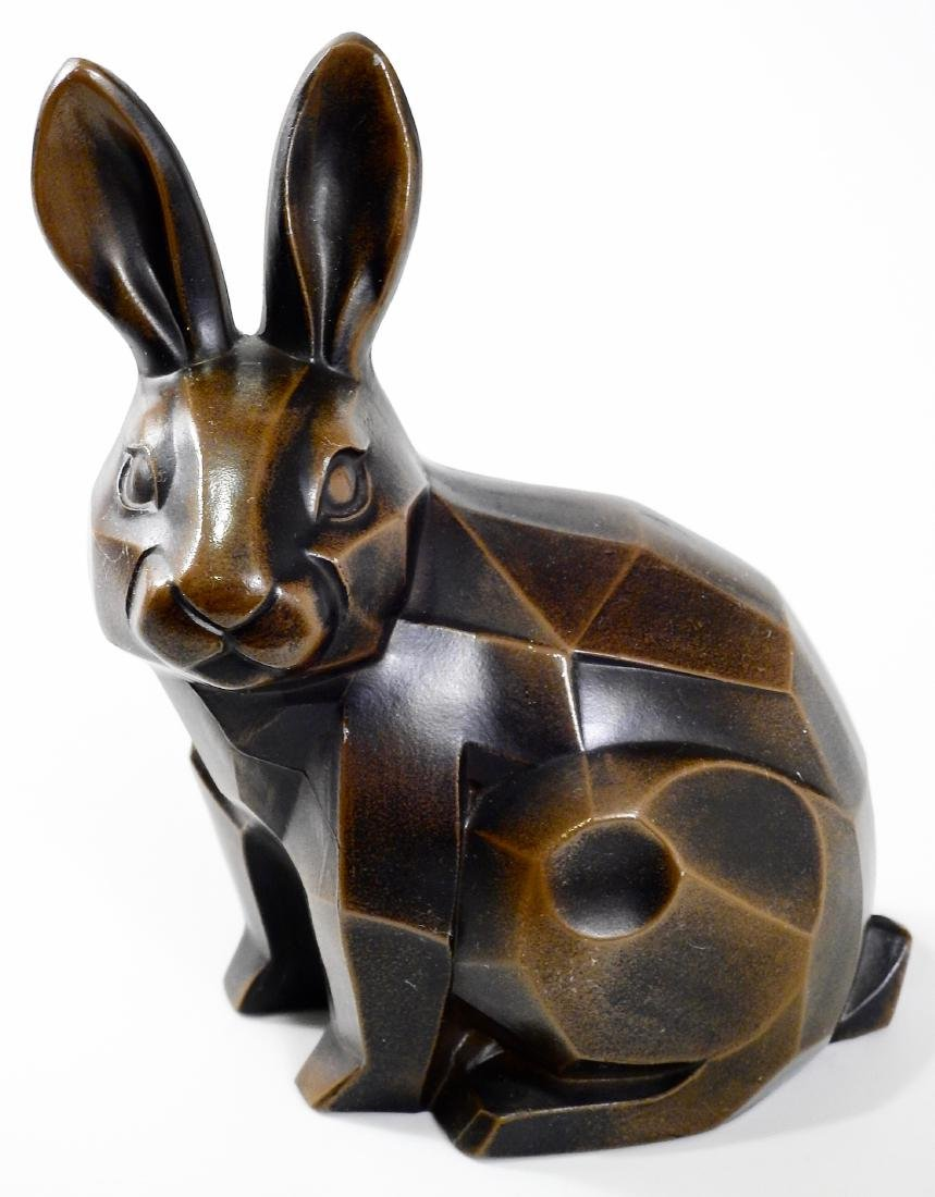 Cubist Modern Abstract Bronzed Spelter Bunny Rabbit - 2
