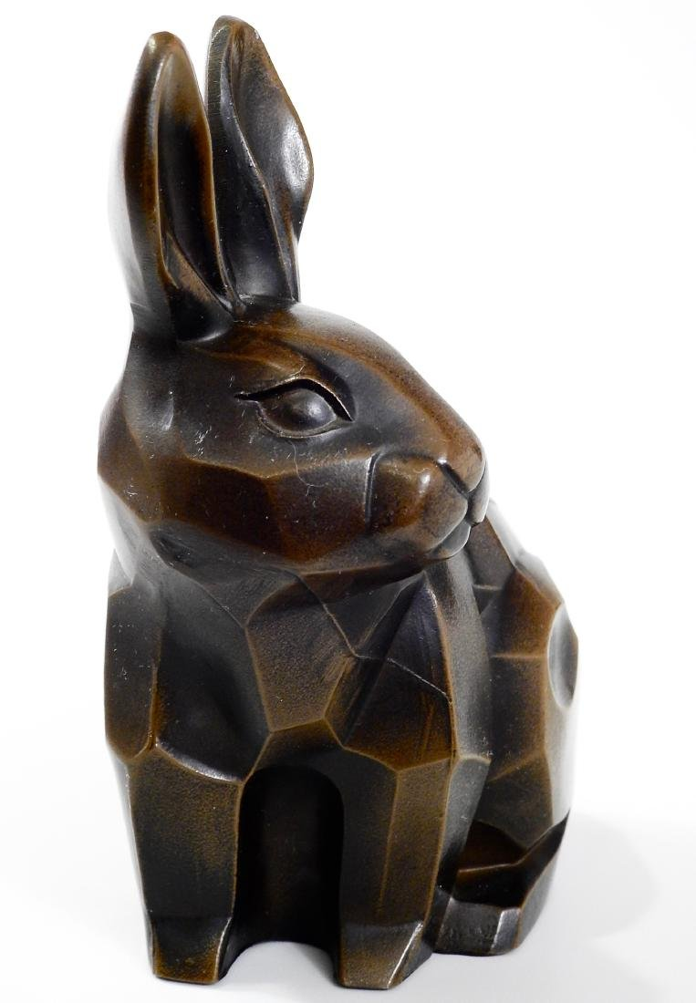 Cubist Modern Abstract Bronzed Spelter Bunny Rabbit - 3