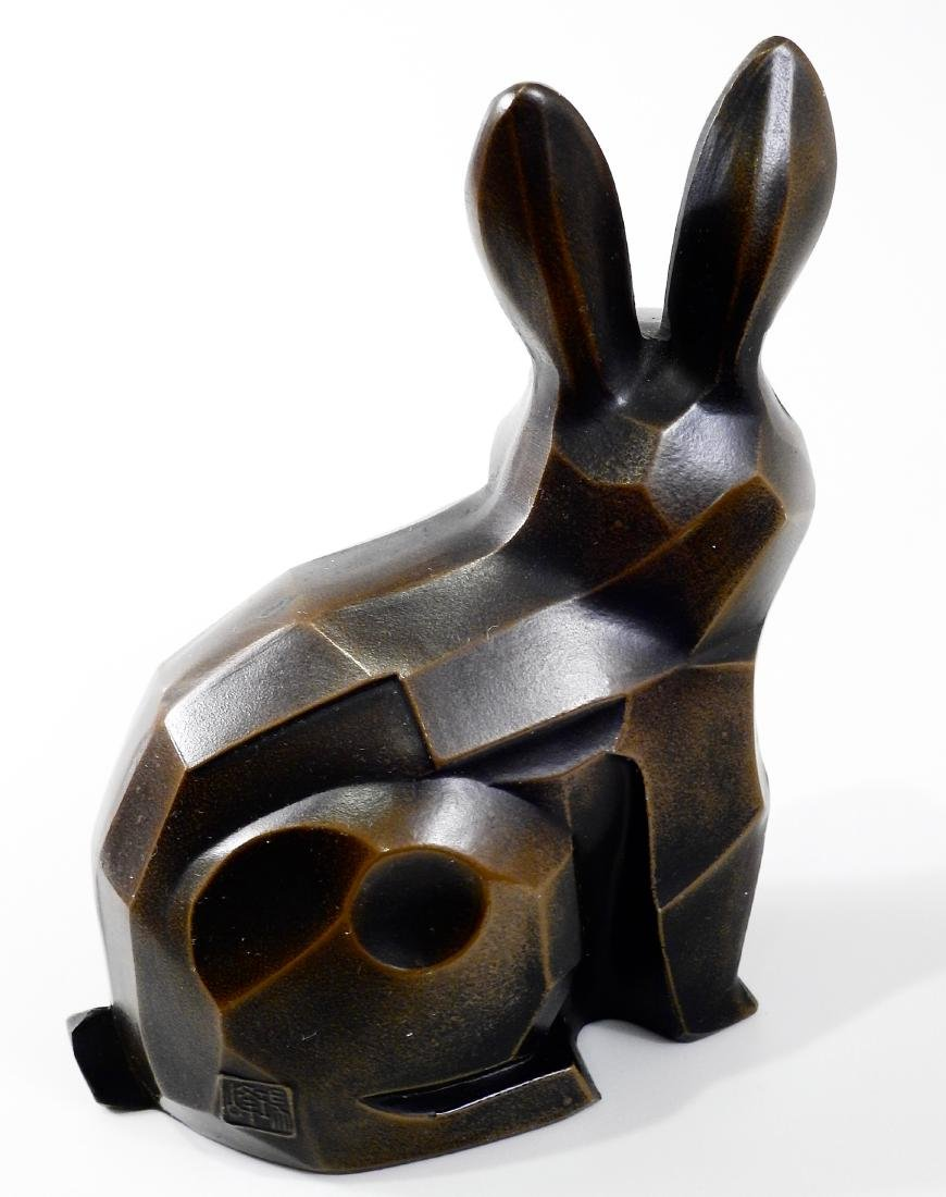 Cubist Modern Abstract Bronzed Spelter Bunny Rabbit - 4