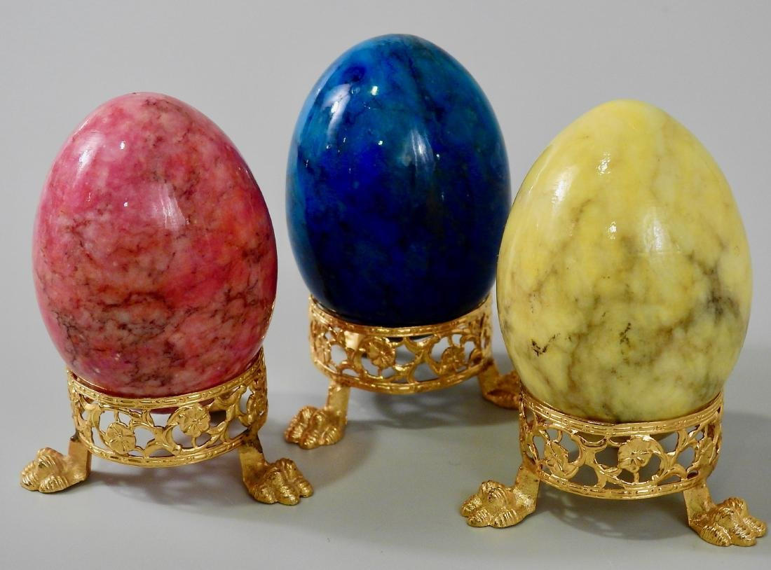 Italian Stained Alabaster Easter Egg Ormolu Base Lot of